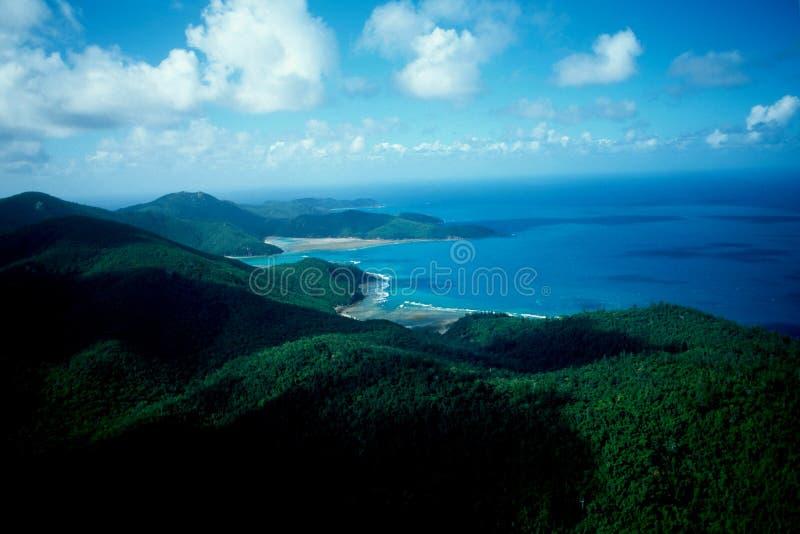 Australie/Grande barrière de corail : Airshot de littoral et de plages image stock