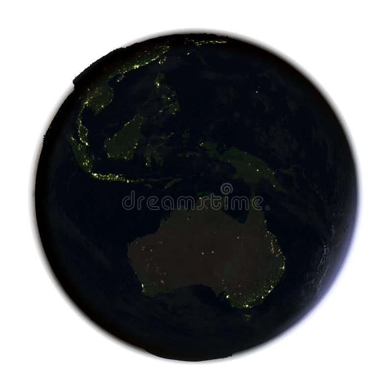 Download Australie Sur Terre La Nuit D'isolement Sur Le Blanc Illustration Stock - Illustration du villes, fond: 87700993