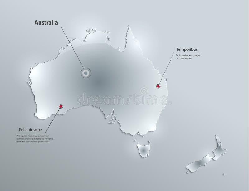 Australien återhållsam översikt Nya Zeeland, exponeringsglaskortpapper 3D royaltyfri illustrationer