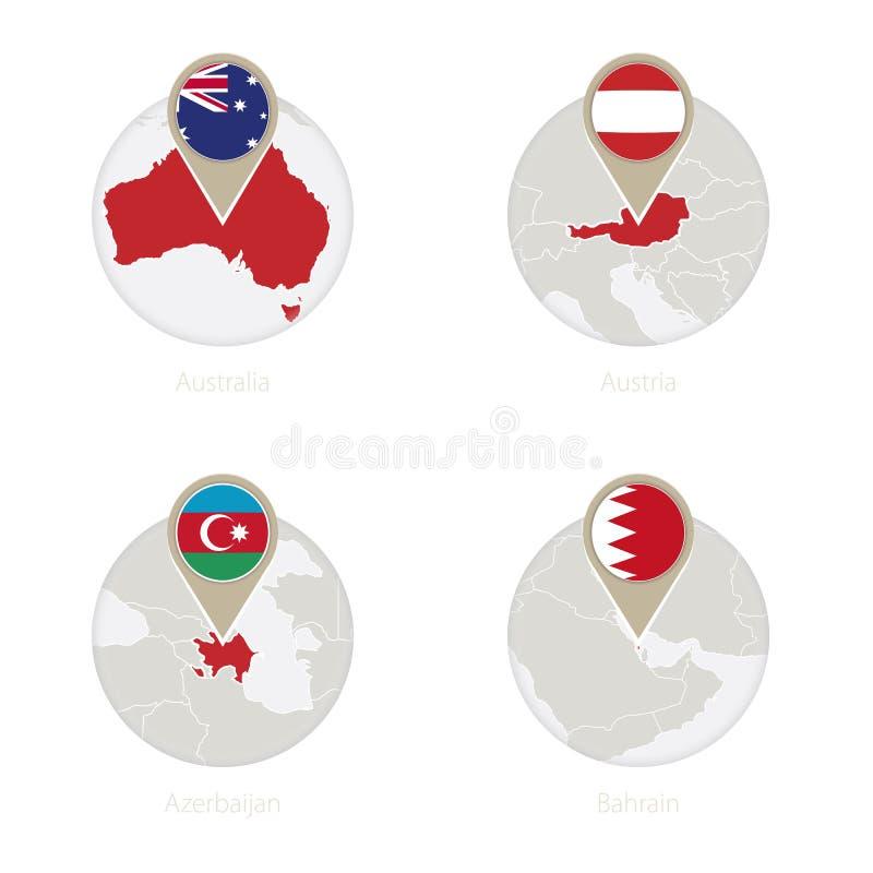 Australien, Österrike, Azerbajdzjan, Bahrain översikt och flagga i cirkel stock illustrationer