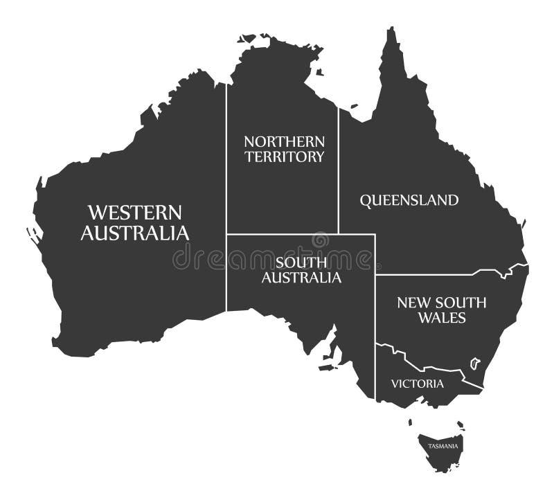 Australien översikt med tillstånd och märkt svart vektor illustrationer
