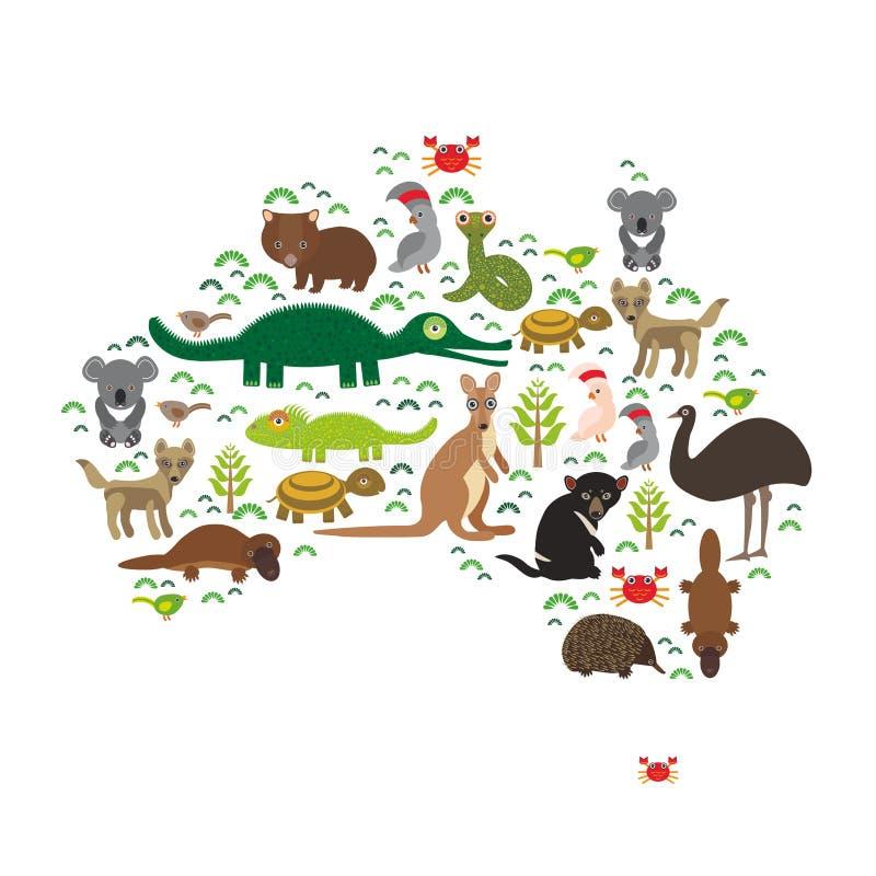 Australien översikt Octopu för dingo för känguru för krokodil för sköldpadda för orm för vombat för papegoja för kakadua för Tasm royaltyfri illustrationer