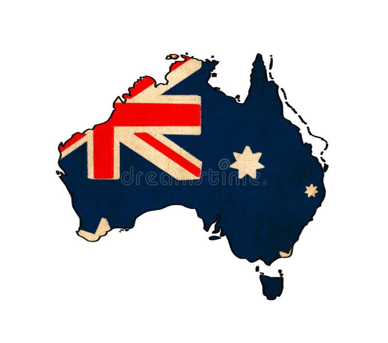 Australien översikt på Australien flaggateckning royaltyfri illustrationer