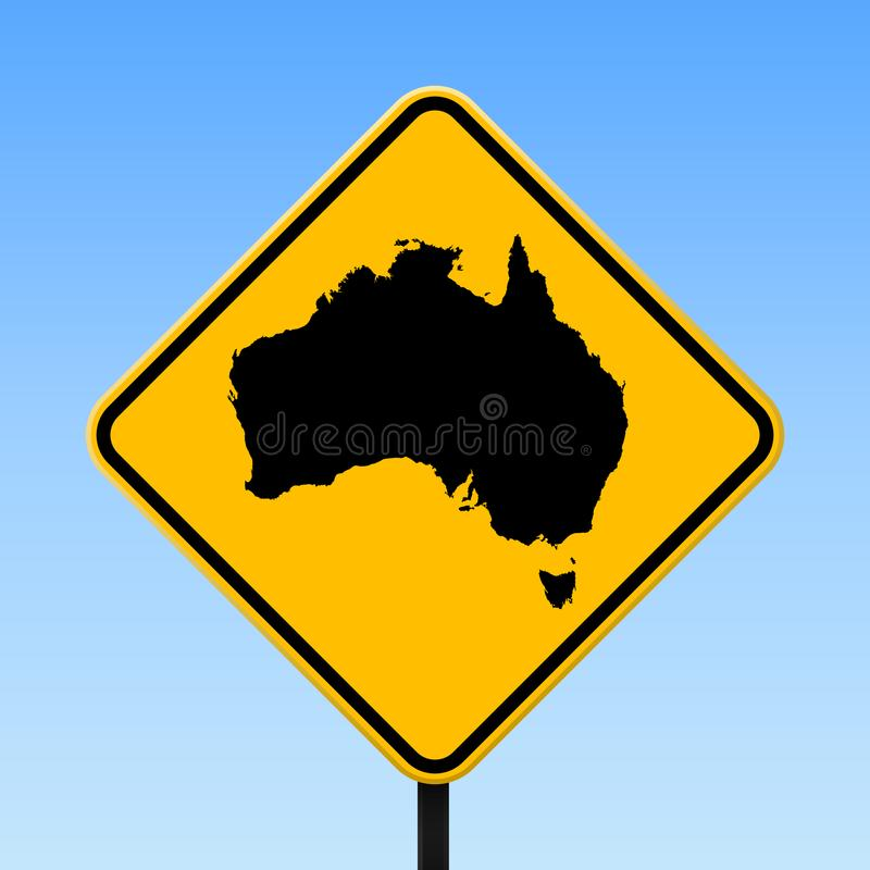 Australien översikt på vägmärke royaltyfri illustrationer