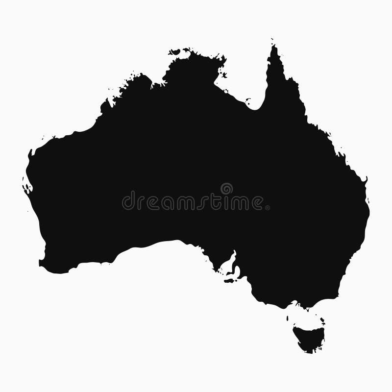 Australien översikt - svart monokrom form vektor royaltyfri illustrationer