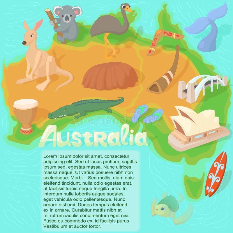 Australien översiktsbegrepp, tecknad filmstil stock illustrationer