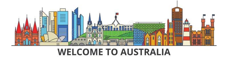 Australien översiktshorisont, plan tunn linje symboler, gränsmärken, illustrationer för australier Australien cityscape, australi stock illustrationer