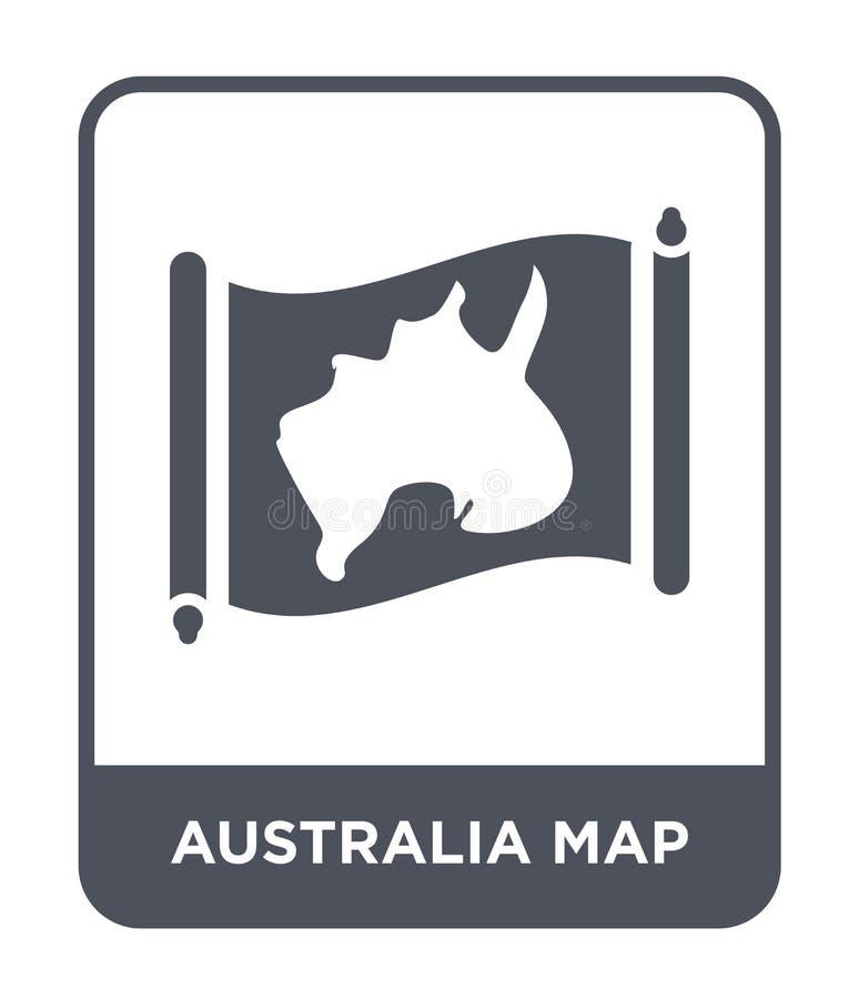 Australien översiktssymbol i moderiktig designstil Australien översiktssymbol som isoleras på vit bakgrund enkel symbol för Austr royaltyfri illustrationer
