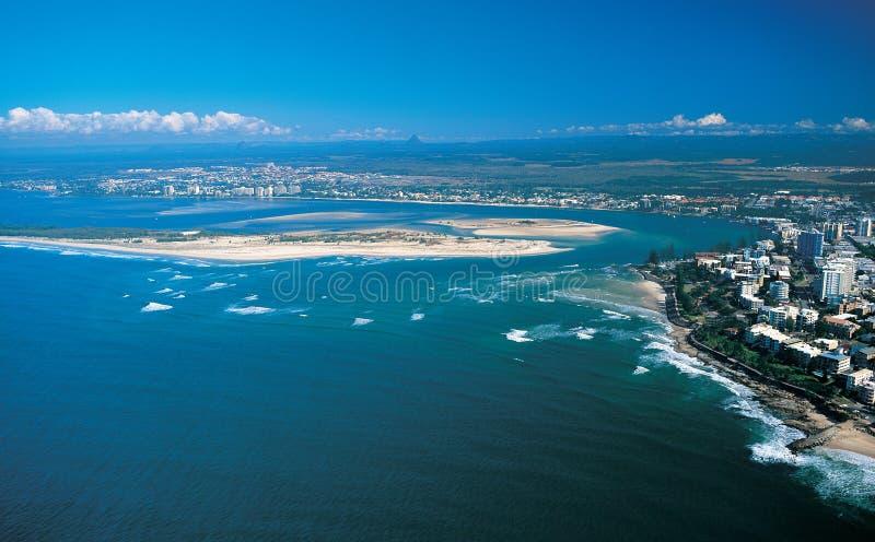 Australien: Airshot von Caloundra, Queensland, Sonnenschein-Küste stockfotos