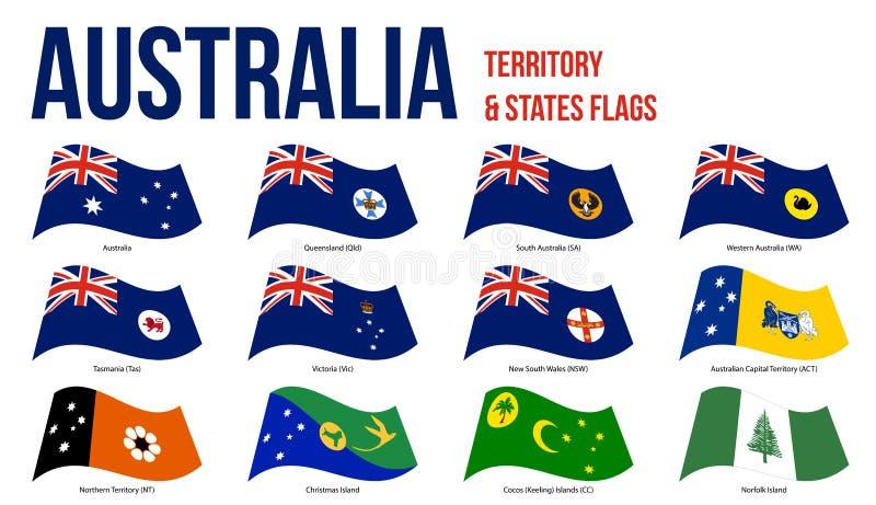 Australien all tillstånd och illustration för vinkande vektor för territoriumflaggor på vit bakgrund stock illustrationer
