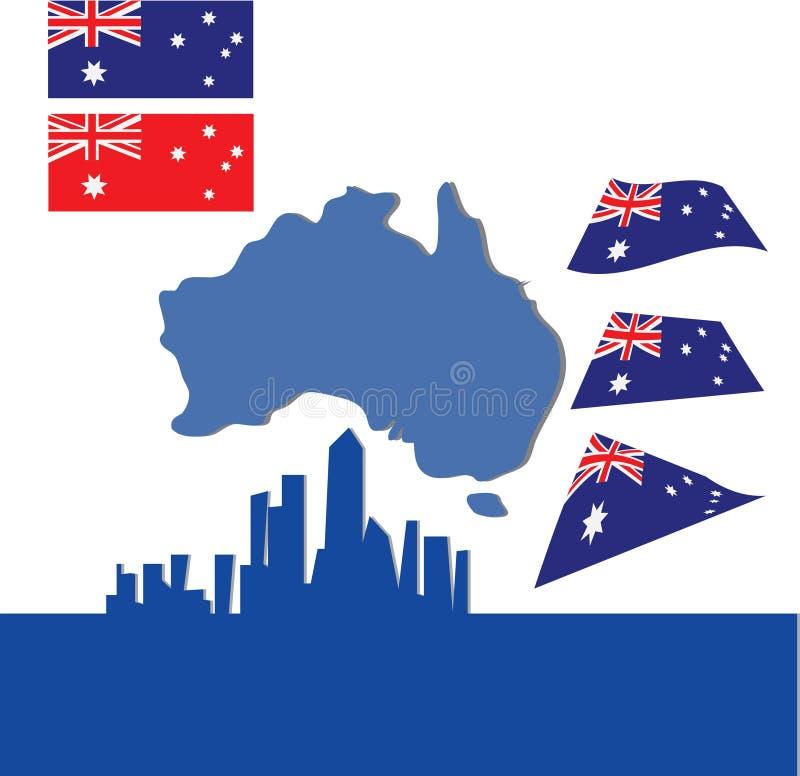Australien-Kontinent Auf Blau Stock Abbildung