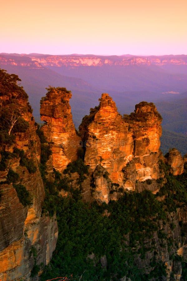 Australien blå bergnsw royaltyfria bilder