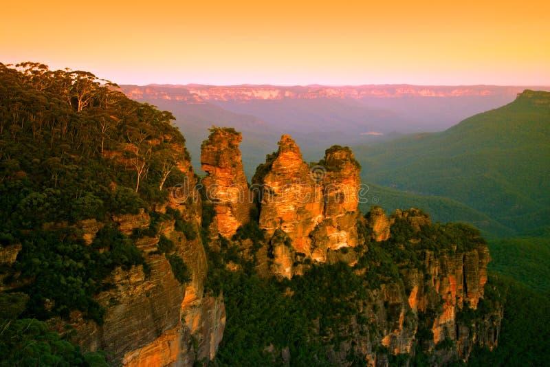 Australien blå bergnsw arkivbild