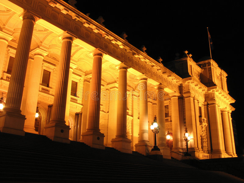 Australien byggnadsmelbourne parlament royaltyfri foto