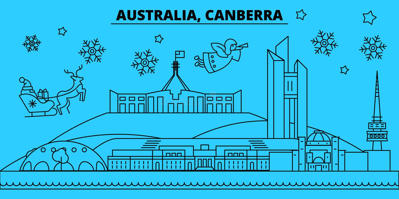 Australien Canberra övervintrar feriehorisont Glad jul, det lyckliga nya året dekorerade banret med Santa Claus plant royaltyfri illustrationer