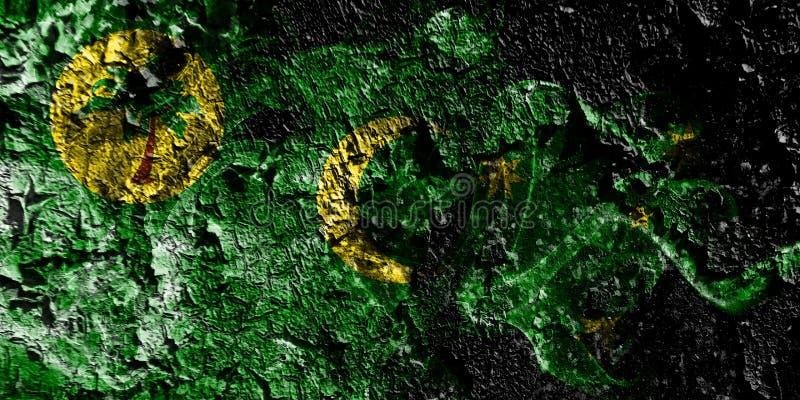 Australien - CocosKeeling öar - Australien rökig mystisk flagga på den gamla smutsiga väggbakgrunden royaltyfri illustrationer