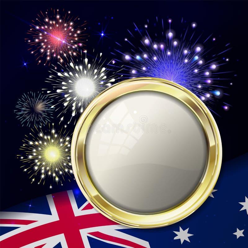 Australien dag med emblemet och flaggan Färgrika fyrverkerier på svart royaltyfri illustrationer