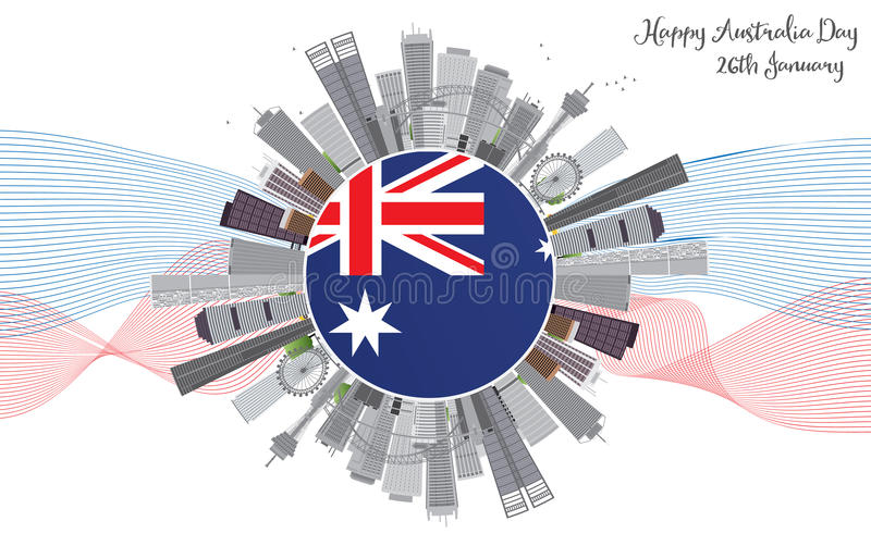 Australien dagbakgrund med Gray Buildings stock illustrationer
