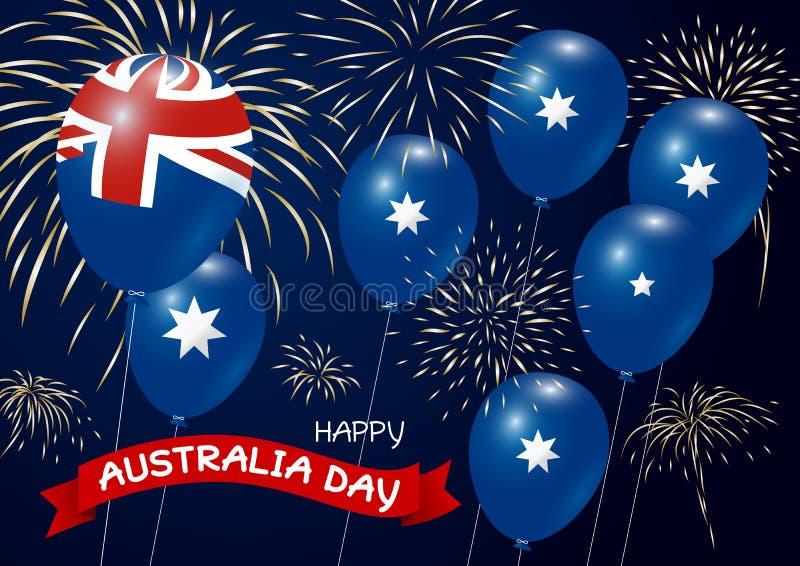 Australien dagdesign av flaggan och ballongen med fyrverkerier stock illustrationer