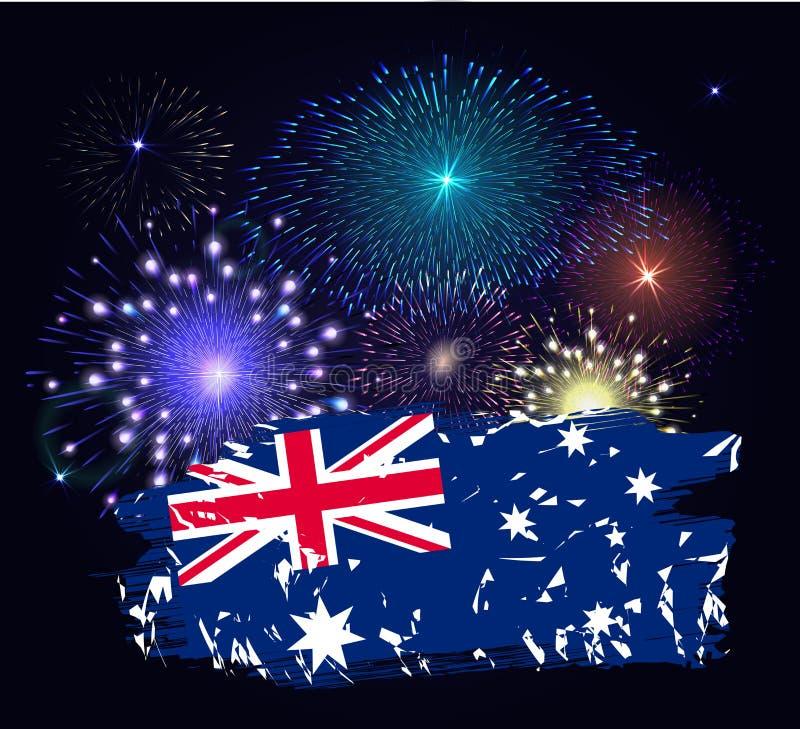 Australien dagflagga Färgrika fyrverkerier på svart bakgrund stock illustrationer