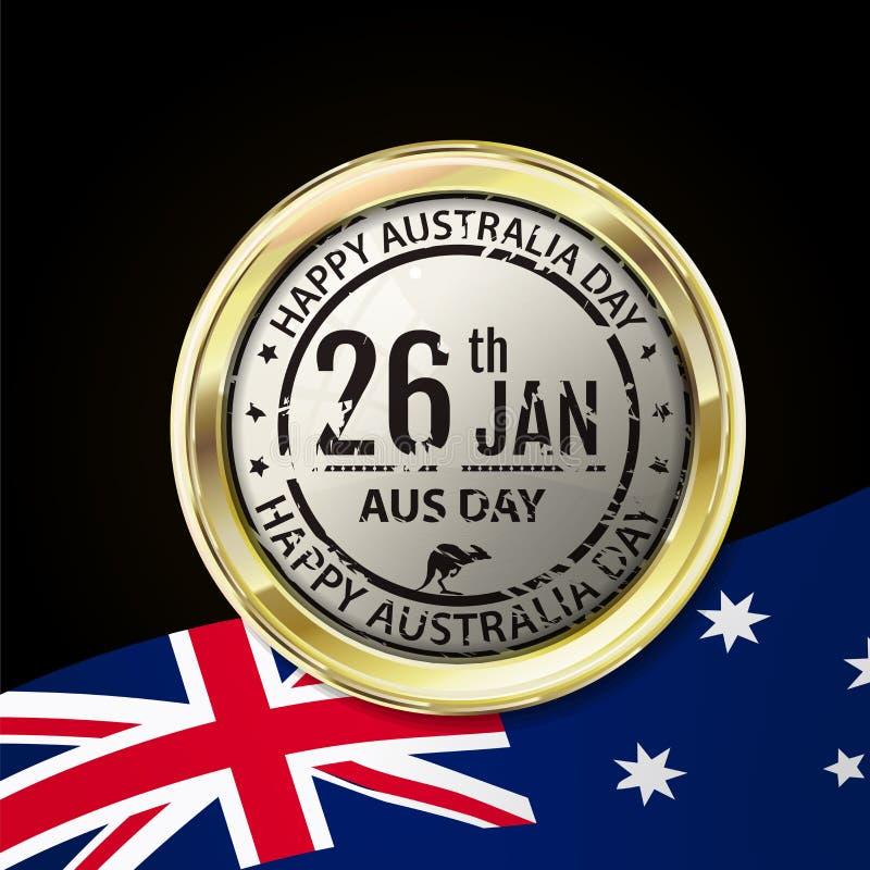 Australien dagstämpel i guld- emblem med sken och reflexion Gr vektor illustrationer