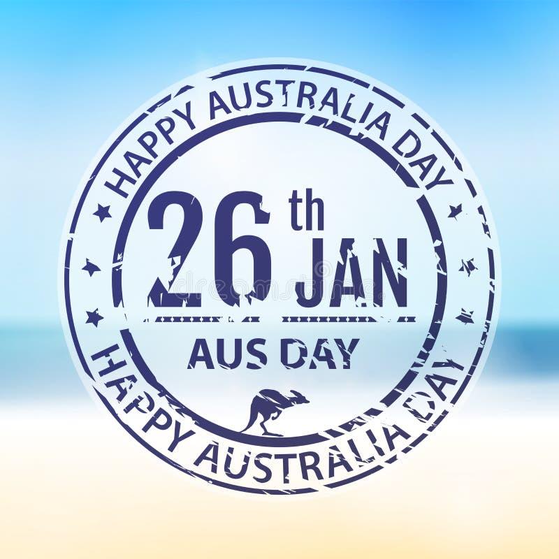Australien dagstämpel i vektor Blått emblem för lantgård för Australien royaltyfri illustrationer