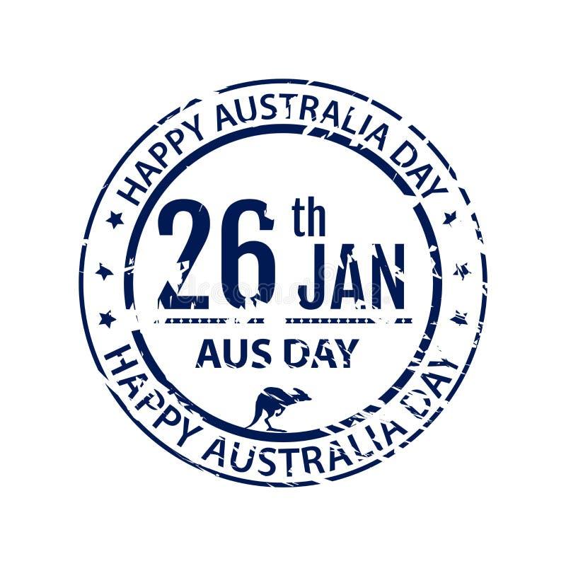 Australien dagstämpel i vektor Blått emblem för lantgård för Australien stock illustrationer