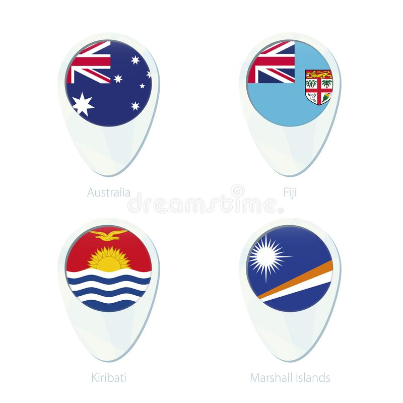 Australien Fiji, Kiribati, symbol för stift för översikt för Marshall Islands flaggaläge stock illustrationer