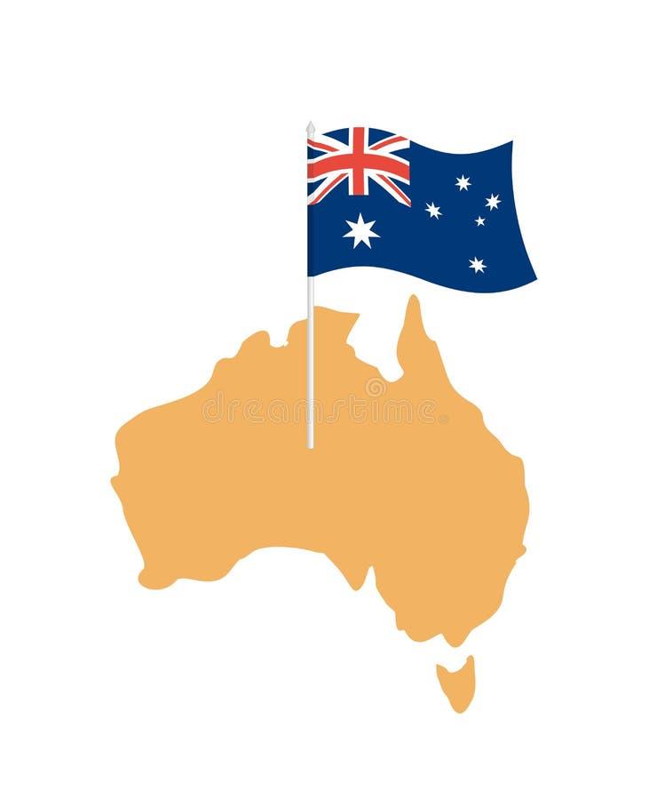 Australien flaggaöversikt Australiskt resurs- och landområde tillstånd stock illustrationer