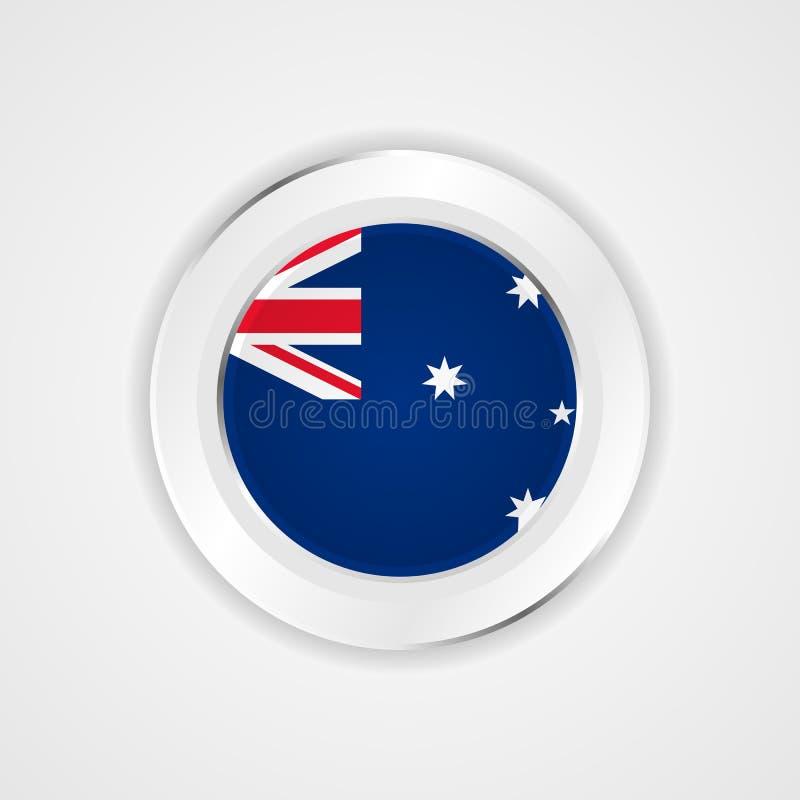 Australien flagga i glansig symbol royaltyfri illustrationer