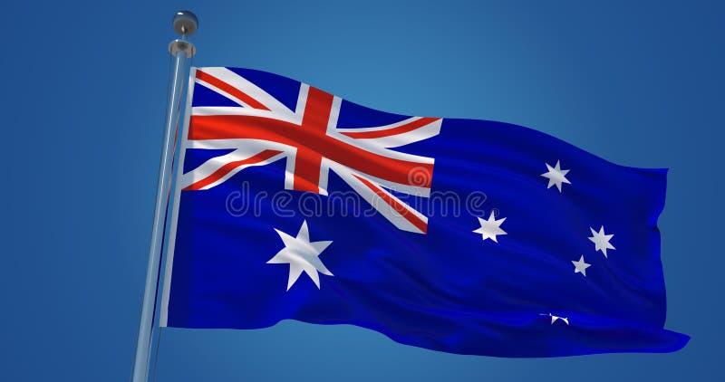 Australien flagga i vinden, illustration 3d stock illustrationer