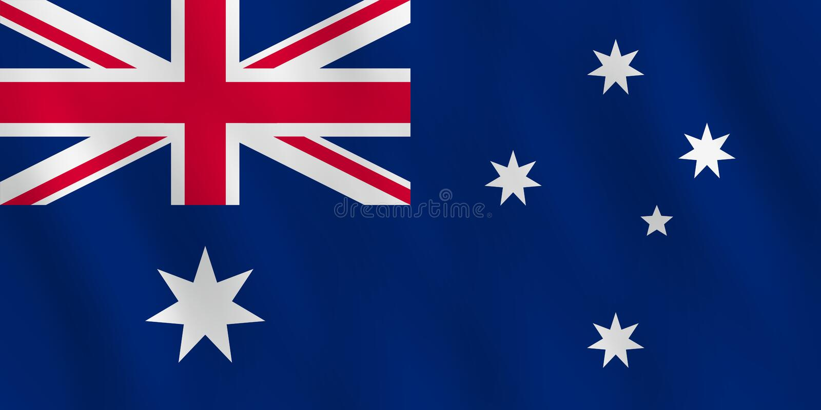 Australien flagga med vinkande effekt, officiell proportion stock illustrationer