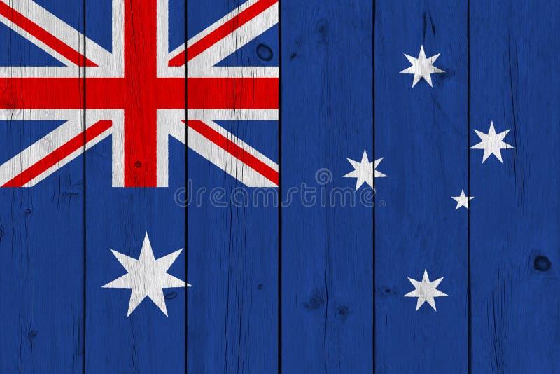 Australien flagga som målas på gammal träplanka vektor illustrationer