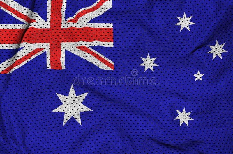 Australien flagga som skrivs ut på en fabr för ingrepp för polyesternylonsportswear arkivfoto