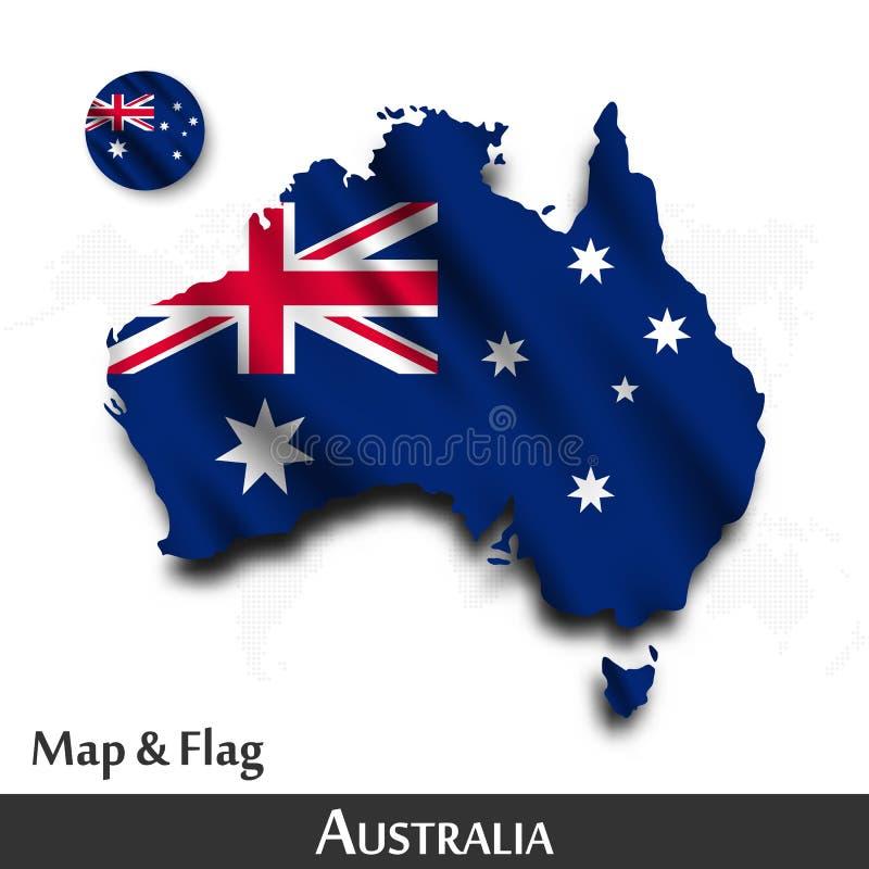 Australien flagga?versikt Vinkande textildesign Prickv?rldskartabakgrund vektor vektor illustrationer