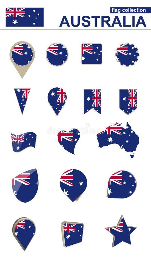 Australien flaggasamling Stor uppsättning för design vektor illustrationer