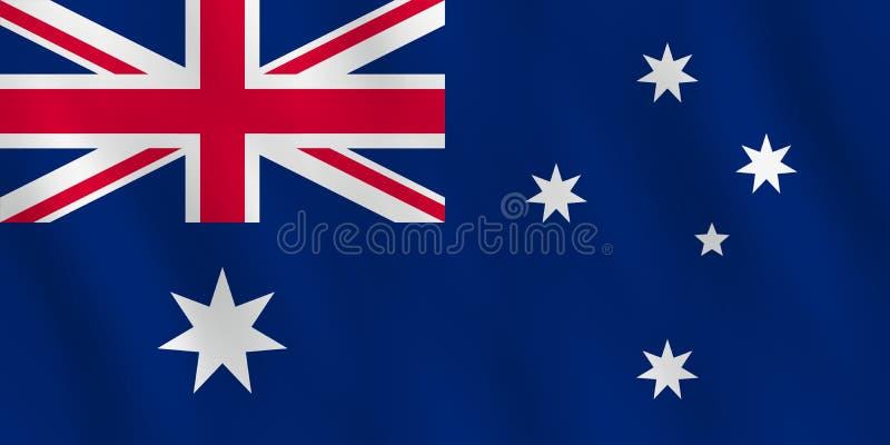 Australien-Flagge mit wellenartig bewegendem Effekt, offizieller Anteil stock abbildung