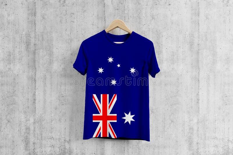 Australien-Flagge T-Shirt auf Aufhänger, einheitliche Entwurfsidee des australischen Teams für Kleiderproduktion Nationale Abnutz vektor abbildung