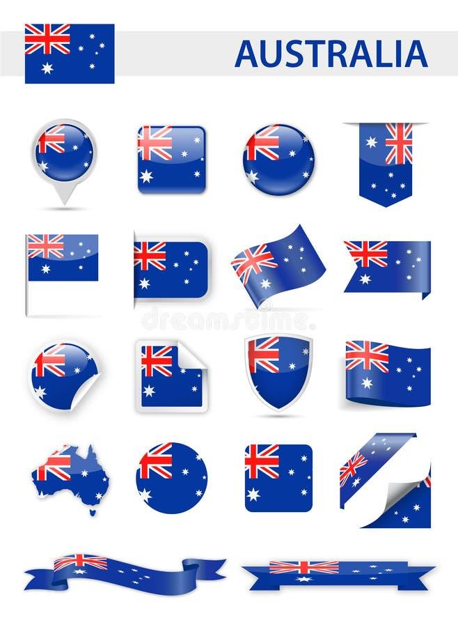 Australien-Flaggenvektorsatz lizenzfreie abbildung