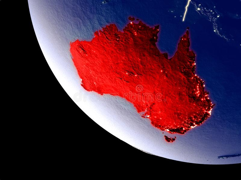 Australien från utrymme på jord royaltyfri bild