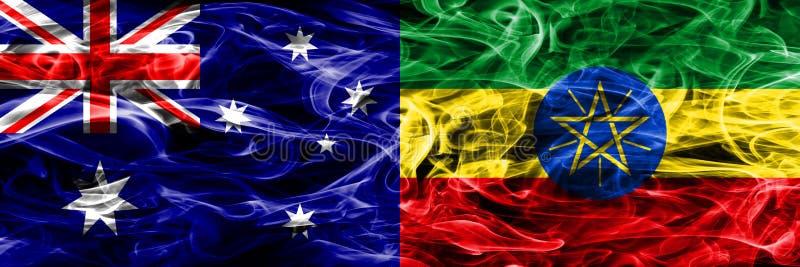 Australien gegen die bunte Rauchflagge Äthiopiens gemacht vom dicken Rauche vektor abbildung
