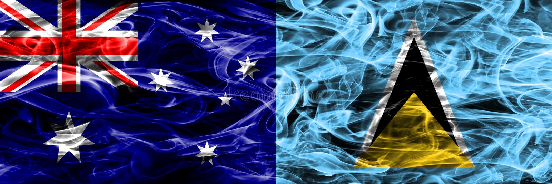 Australien gegen die bunte Rauchflagge der St. Lucia gemacht vom dicken Rauche vektor abbildung