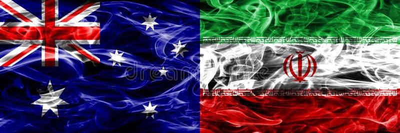 Australien gegen die bunte Rauchflagge des Irans gemacht vom dicken Rauche vektor abbildung