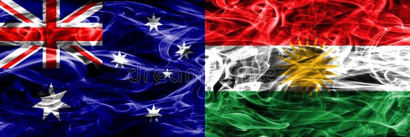 Australien gegen die bunte Rauchflagge des Kurdistans gemacht vom dicken Rauche vektor abbildung
