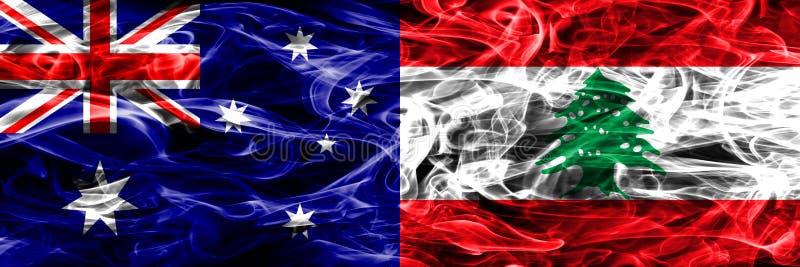 Australien gegen die bunte Rauchflagge des Libanons gemacht vom dicken Rauche stock abbildung