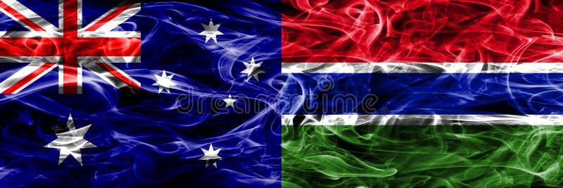 Australien gegen die bunte Rauchflagge Gambias gemacht vom dicken Rauche lizenzfreie abbildung