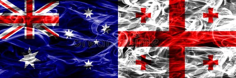 Australien gegen die bunte Rauchflagge Georgia gemacht vom dicken Rauche vektor abbildung