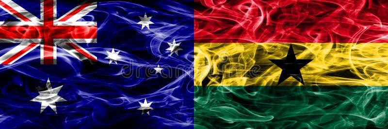 Australien gegen die bunte Rauchflagge Ghanas gemacht vom dicken Rauche stock abbildung