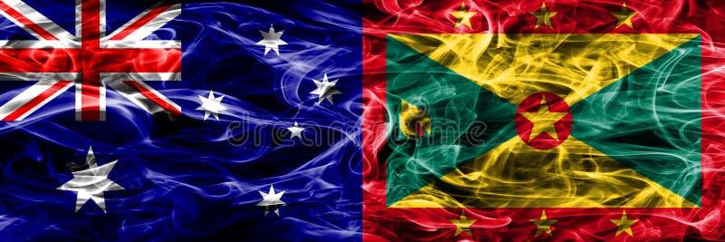 Australien gegen die bunte Rauchflagge Grenadas gemacht vom dicken Rauche vektor abbildung