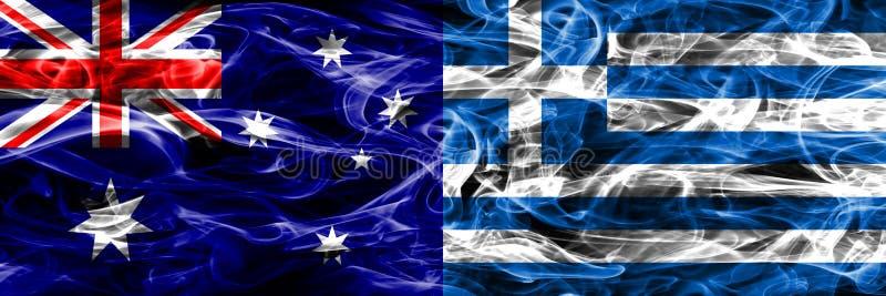 Australien gegen die bunte Rauchflagge Griechenlands gemacht vom dicken Rauche lizenzfreie abbildung